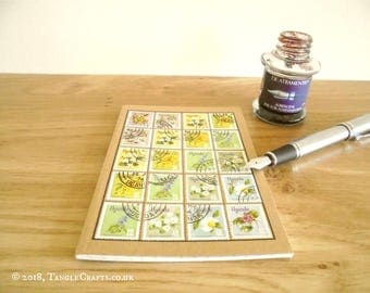Uganda Flower Stamps Notebook, Graph Grid Journal - Earth Day Gift