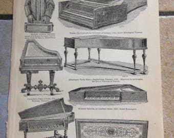 1890 Piano Antique Illustrations