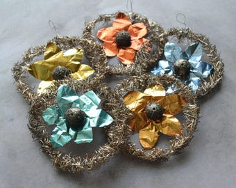 Antique Tinsel Foil & Glitter Christmas Ornaments