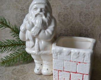 Vintage Santa Claus Chimney Christmas Pottery Ceramic Planter Vase Candy Container Japan