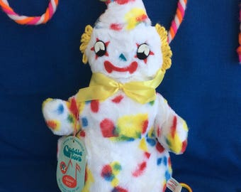 Wonderful Vintage Plush Clown Musical Chime Cuddle Toy Mint with Hang Tag 50's 60's Stuffed Circus Big Top Collectible