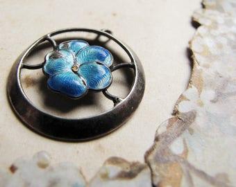 antique sterling silver pendant with blue enamel flower motif - art nouveau jewelry