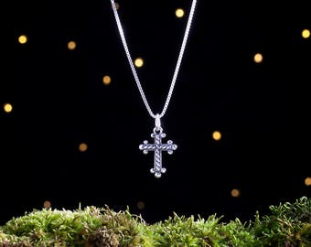 Sterling Silver Cross - Everyday Jewelry - Small, 3D Double Sided - (Charm, Necklace, or Earrings)