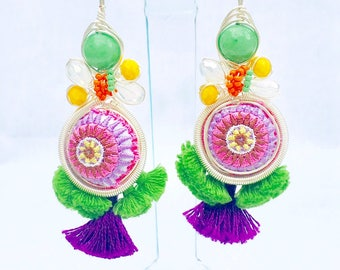 Fringe, Textile and Beaded Statement Earrings (SUPER LIGHTWEIGHT)- Pinarello