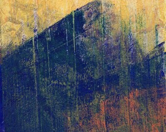 barn, monoprint, gelatin print, abstracted landscape