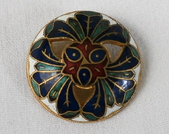 Pierced Enamel Button in Blue, Green, Red and White - great old domed Champleve Enamel Button