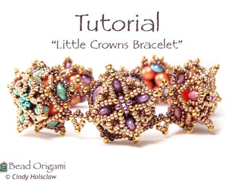 TUTORIAL - Little Crowns Bracelet with SuperDuo beads - PDF Pattern Only