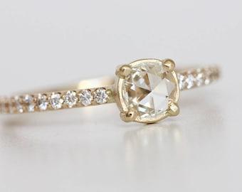 Rose Cut Moissanite Engagement Ring with Diamond Pave Band - Diamond Alternative Wedding Engagement Ring - Eco Friendly