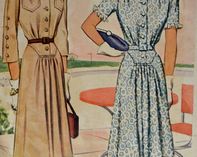 1940s McCall Dress Pattern, Copyright 1941, Dress Pattern,Shirt Dress Pattern,Women's Dress Pattern, Vintage Dress Pattern,Pattern, No 4291