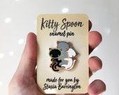 Kitty Spoon hard enamel pin - black gray and white cat cuddle