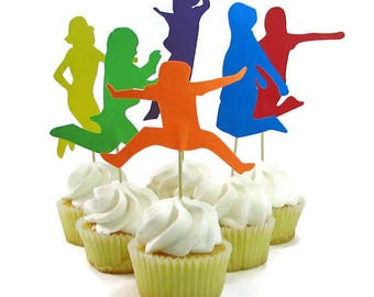 Jump Party Cupcake Toppers, Jumping Kids Cake Toppers, Bounce House Party, Trampoline Party, Girl Silhouette Jumping, Guy Silhouette Jumping