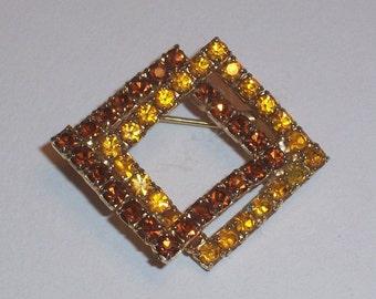 Vintage Brooch - with Topaz Colored Rhinestones