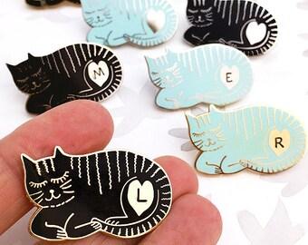 Personalised Sleepy Cat Enamel Pin Badge