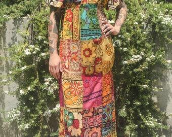 India Gauze Dress. Floral block print. Hippie. Patchwork. Cotton. 60s 70s. Vintage clothing. Maxi Dress. eb