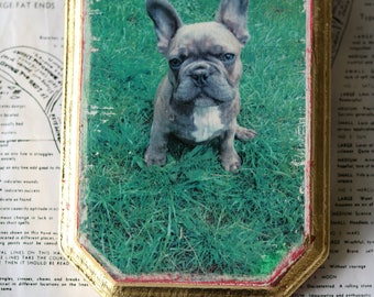 French, Bulldog, Plaque, Art, Miniature, Affordable, Wall Decor, Photography, Mixed Media, Wood, Green, Gold, Holiday, Sale