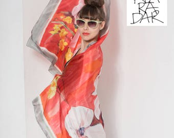 Hand Painted silk scarf- Scarlet Red Magnolia, Floral scarves/ Designer scarf/ Mothers Day gift Birthday gift KA17womans silk scarves/shawls