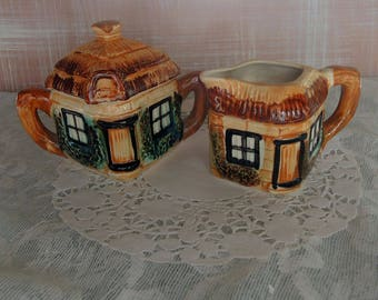 Vintage Cottage Ware Ceramic Sugar And Creamer