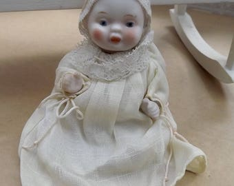 """Antique 5.5"""" Japan Bisque Baby Doll House Doll Mignonette Marked Japan Hand Painted"""