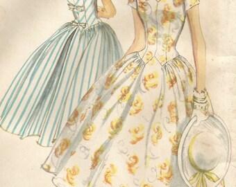 Vintage 50s Simplicity 1987 UNCUT Misses Midcentury Shaped Waistline, V-Neckline Full Skirt Dress Sewing Pattern Size 18 Bust 38