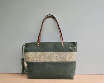 Monogrammed Waxed Canvas Tote with Southwestern Accent in Green, Personalized Tote Bag, Large Boho Look Zipper Tote, Engraved Initial Tassel