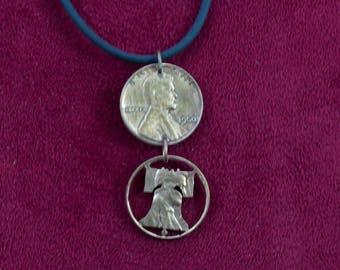 CLEARANCE- Liberty Bell Cut Pennies Dangle Pendant