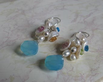 Keshi Bloom Design- Earrings, Pearl Cluster, Chalcedony, Peridot, Apatite, Pink Topaz, Hessonite Garnet, Silver