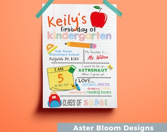 First Day of School Poster - Back to School Sign - Pre-School Sign - Custom 1st day of school Chalkboard - PRINTABLE