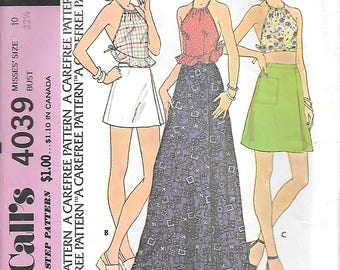 McCalls 4039 1970s Drawstring Halter Top and Front Wrap Skirt Vintage Sewing Pattern Size 10 Bust 32