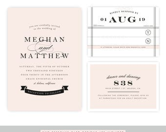 Blush Wedding Invitation Template | Instant Download, Wedding Template, DIY Wedding