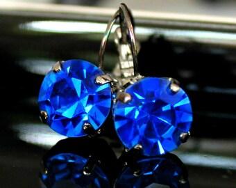 Vintage, Round, Cobalt Blue Crystals Set in Gunmetal Leverback Earrings