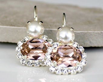Swarovski Pearl and Antique Rose Oval Crystals Set in Pale Gold Lever Back Earrings