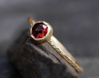 Rose Cut Raspberry Pink Tourmaline in Textured Hammered Recycled 14k Yellow Gold- Ready to Ship