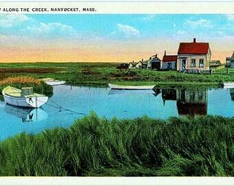 Vintage Nantucket Postcard - Along the Creek (Unused)