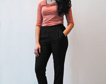 Eco friendly sophisticated bamboo blouse / Cowl neck and half-length sleeves / Classic Fashion / Work Clothes / Work Top / Office Fashion