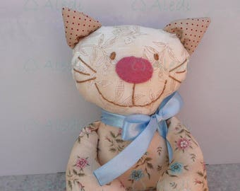 Rag doll, cat doll- DEPOSIT, handmade soft doll, dolls for toddlers, stuffed animal, fabric doll, special gift for cat lovers, cute doll