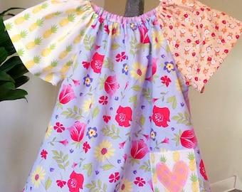 """Summer Play Top """"Potluck"""" Flutter Sleeves Patwork Fabrics Girls Size 3T Designer Cottons betrueoriginals"""