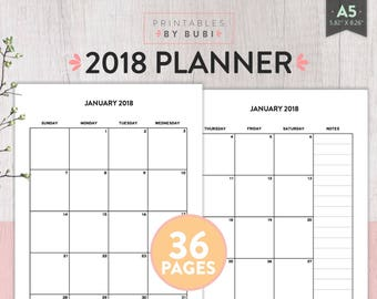 2018 Planner Printable 2018 Monthly Planner 2018 Monthly Planner 2018 Planner Pages 2018 Agenda Printable Planner Inserts Instant Download
