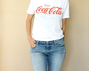 vintage 80s white COKE coca-cola TEE shirt S-M