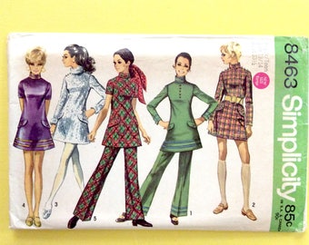 Simplicity 8463 Mini dress Bell bottoms Mod Groovy Gogo 1960s 1969 Hippie Pants suit Vintage Sewing Pattern  Bust 33.5