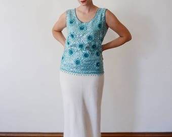 1960s Blue Beaded Wool Tank - L