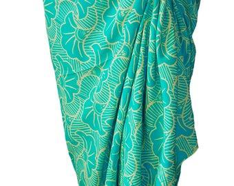 PLUS SIZE Sarong Women's Clothing ~ Beach Sarong Wrap Skirt Batik Pareo  ~ Aqua Green & Cream Extra Long Sarong Skirt or Dress ~ Plus Skirt