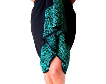 PLUS SIZE Sarong Batik Pareo Beach Sarong Womens Plus Size Clothing - Extra Long Black & Teal Green Sarong Dress or Skirt Swimwear Plus Size