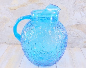 Vintage Anchor Hocking Aqua Blue Lido Pitcher, 1960s, Crinkle Glass