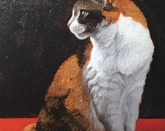 Red Calico 09 - Original Cat Painting by Nancy Cuevas - LIttle Kitty Paintings
