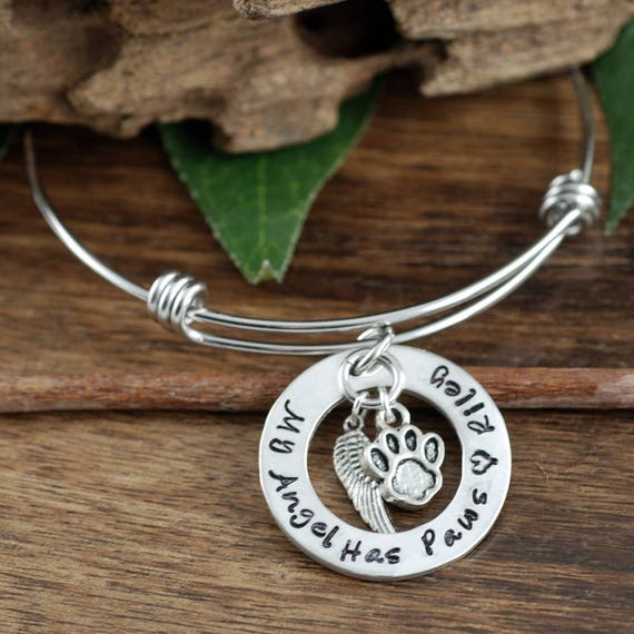 My Angel has Wings, Personalized Pet Memorial Bracelet, Loss of Pet Jewelry, Dog Mom Gift, Hand Stamped Memorial, Pet Remembrance Jewelry