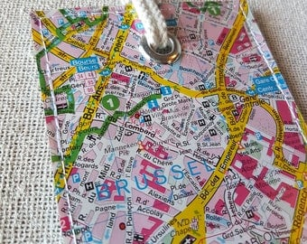 Brussels luggage tag made with original vintage map