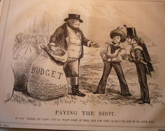 1854 - Paying the Shot -  Victorian Satire - Punch London - original magazine illustration early cartoon - paying out the budget