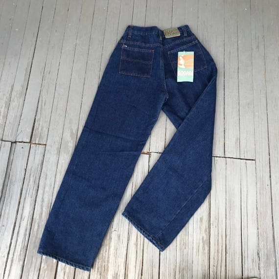 Mom Jeans, 80s blue jeans, Vintage denim, High Waisted jeans, New old stock, BOGARE Jeans, denim Trousers, Dark wash jeans, Super High Waist