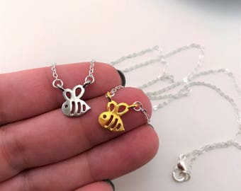 Bee necklaces. Best friend gift. Best friend necklace for 2. Tiny necklaces. BFF necklace. Honey bee jewelry. Tiny charm necklaces.
