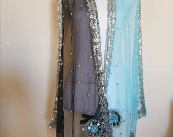 vintage sequin scarf, blue silver black, indian costume, BEAUTIFUL shawl, beadwork embroidery